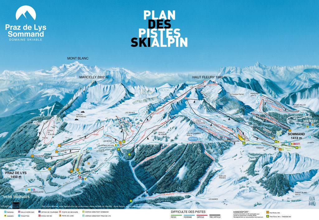 Plan des pistes alpin - Praz de Lys Sommand
